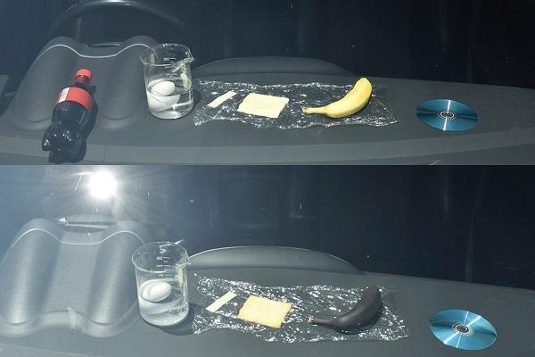 上が実験開始時で下が2時間後。バナナは真っ黒に焦げるほどダッシュボードは暑くなっており、非常に危険だ