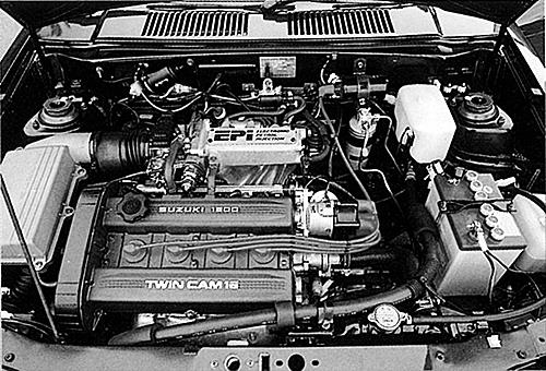カルタスの1.3Lに搭載されたエンジンをショートストローク&DOHC4バルブ化して搭載。後期モデルでは110psまでアップ