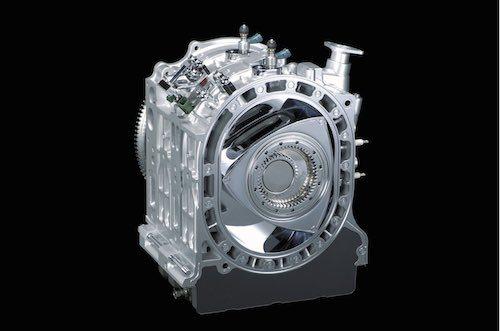 マツダが2007年に公開した次世代ロータリーエンジン「16X」。排気量は800cc×2で、今回完成したロータリーエンジンのベースとなっている
