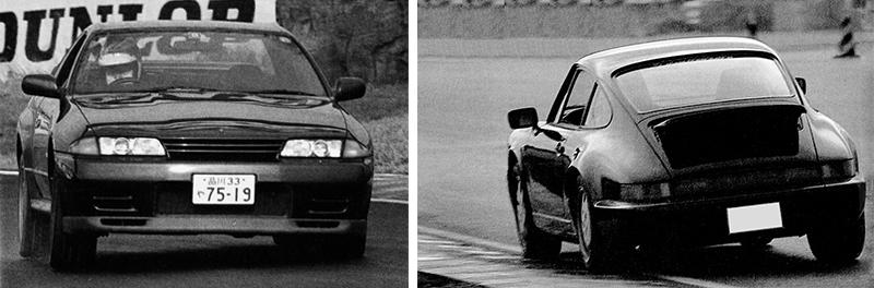 (左)スカイラインGT-R 本誌テスト結果…0〜400m加速:13.14秒/0〜1000m加速:4.51秒/最高速47.99㎞/h/筑波サーキットラップタイム:1分11秒14(右)ポルシェ911カレラ4 本誌テスト結果 0〜400m加速:14.07秒/0〜1000m加速:5.61秒/最高速:58.37㎞/h/筑波サーキットラップタイム:1分12秒00