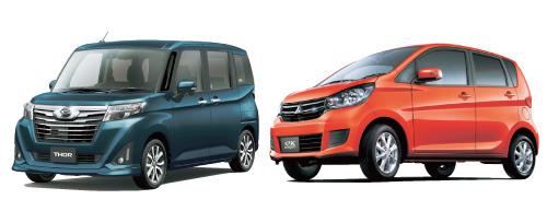 スバルジャスティなどのOEM車があるダイハツトール(左)デイズとは共同開発車だが、eKワゴンは標準車もターボがある(右)