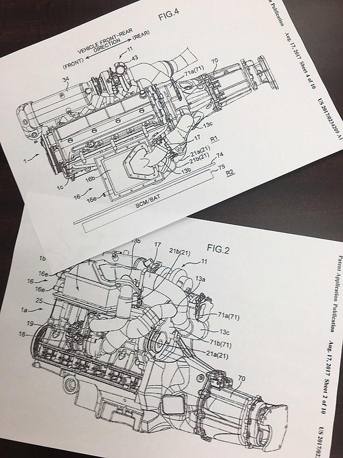 昨年8月にマツダが米国で特許を申請した電動スーパーチャージャー技術の公開図。これはガソリンエンジンだが、FR用の縦置きユニットであることは明らか