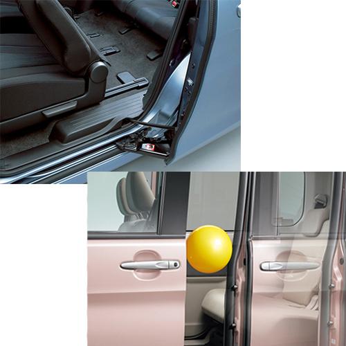 (左上)下にガイドをつけることで開け閉めの安定性を保っている(右下)挟み込み防止機能などで安全性もバッチリ